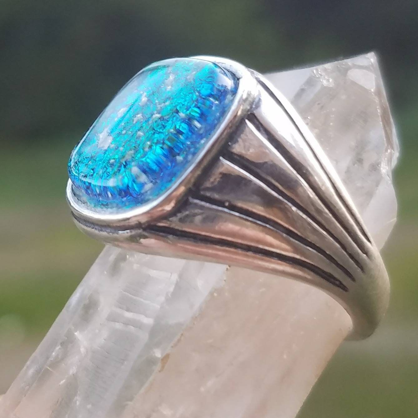 Men's Cremation Ring Ashes InFused Glass Pet Memorial