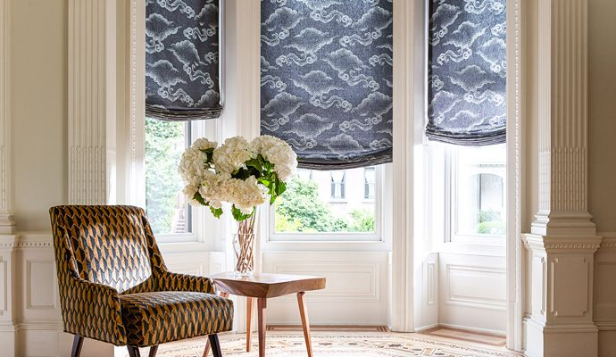 Relaxed Roman Shade Dining Room Window Treatments The Shade Store Dining Room Windows