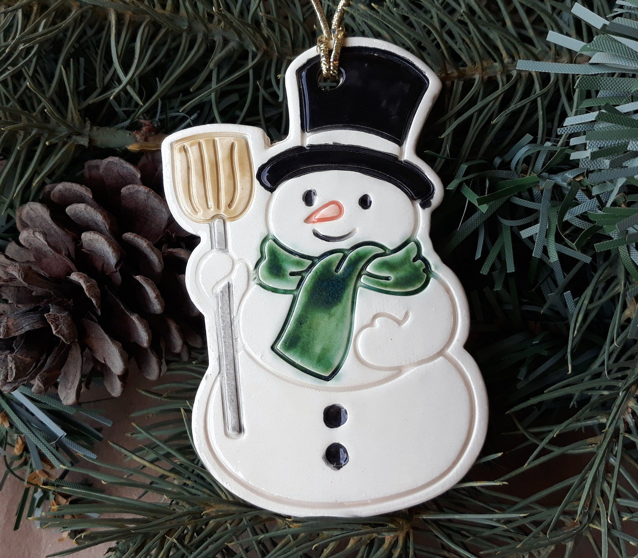 Ceramic Snowman with green scarf Christmas Ornament
