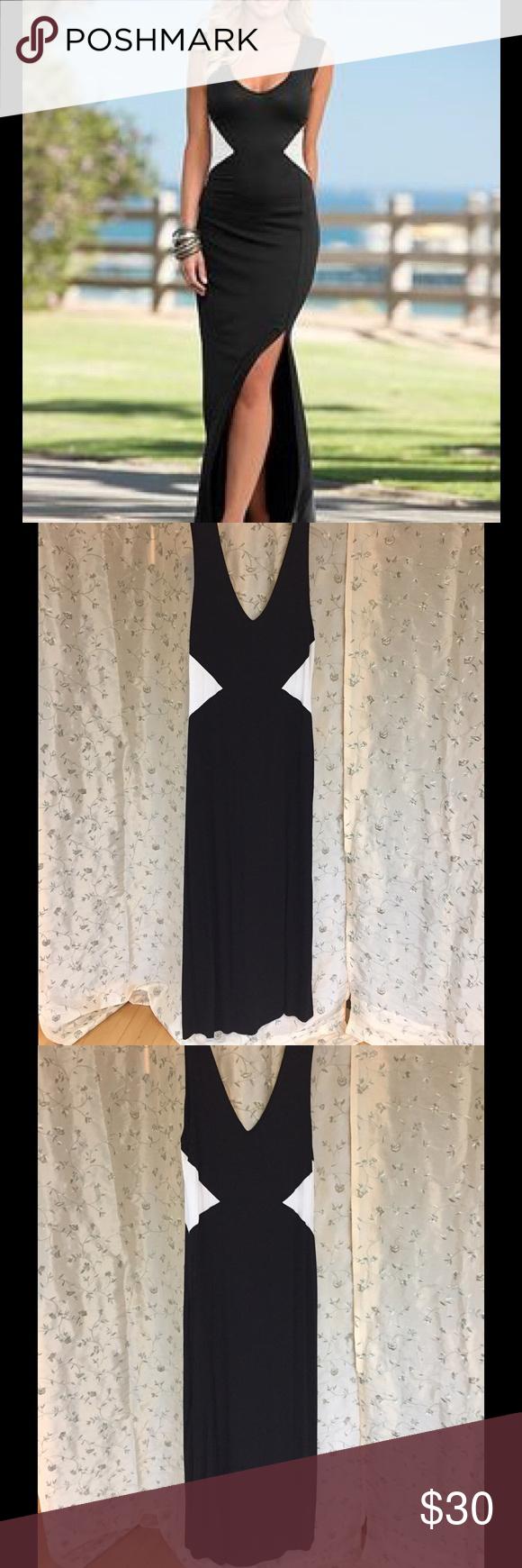 Venus Maxi Dress Black and white 100% viscose maxi dress Venus Clothing Dresses Maxi