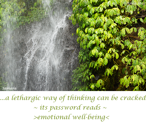 ... a lethargic way of thinking can be cracked ~ its password reads ~ >emotional well-being<