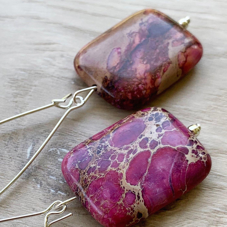 Raspberry Beaded Earrings Pink Hot Pink Earrings Raspberry Earrings Faceted Pink Earrings Berry Earrings Berry Gemstone Earrings