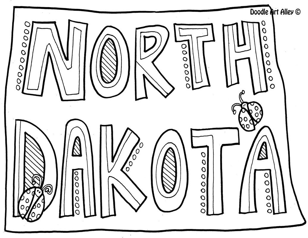 North Dakota Coloring Page By Doodle Art Alley With Images