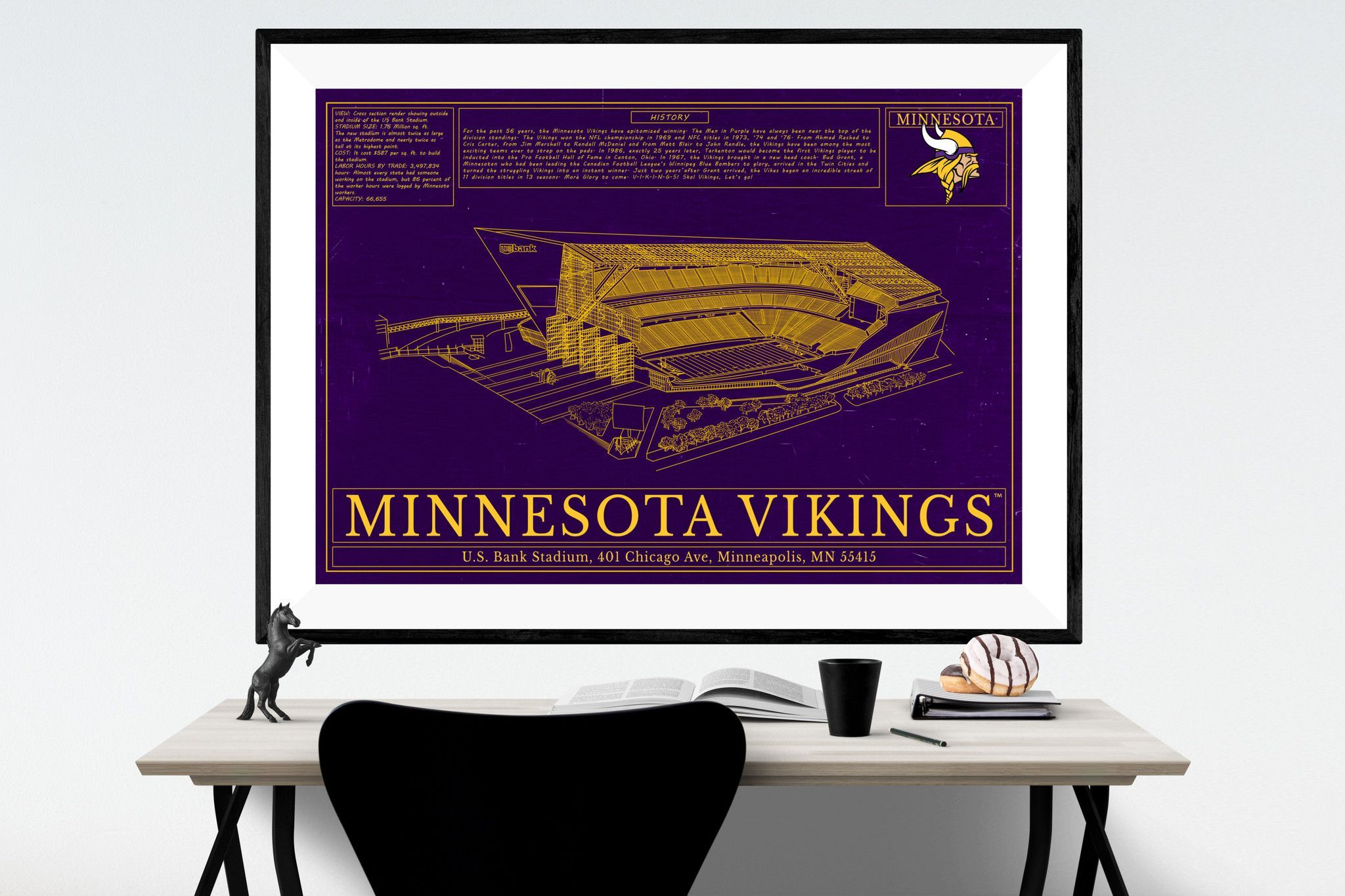 Unique NFL Football Stadium Blueprints Art - Minnesota Vikings ...
