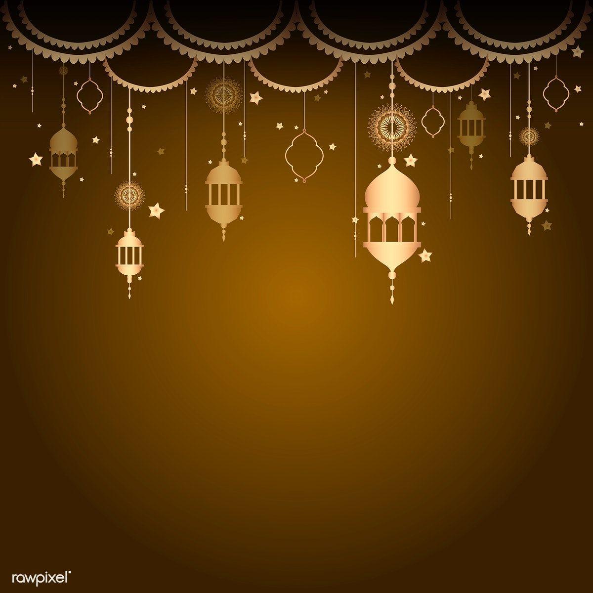 Download Premium Vector Of Eid Mubarak Lantern Background Vector 558897 Idul Fitri Seni Islami Lentera