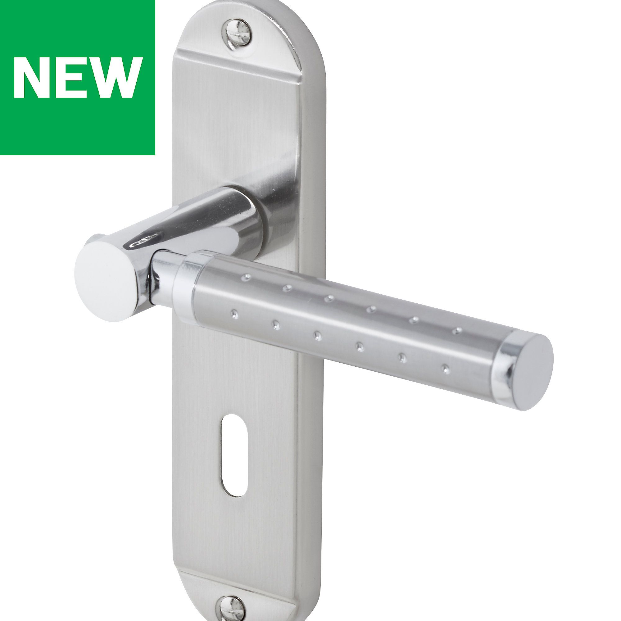 Brigg Satin Nickel Effect Internal Straight Lock Door Handle Pair Door Handles Satin Nickel B Q
