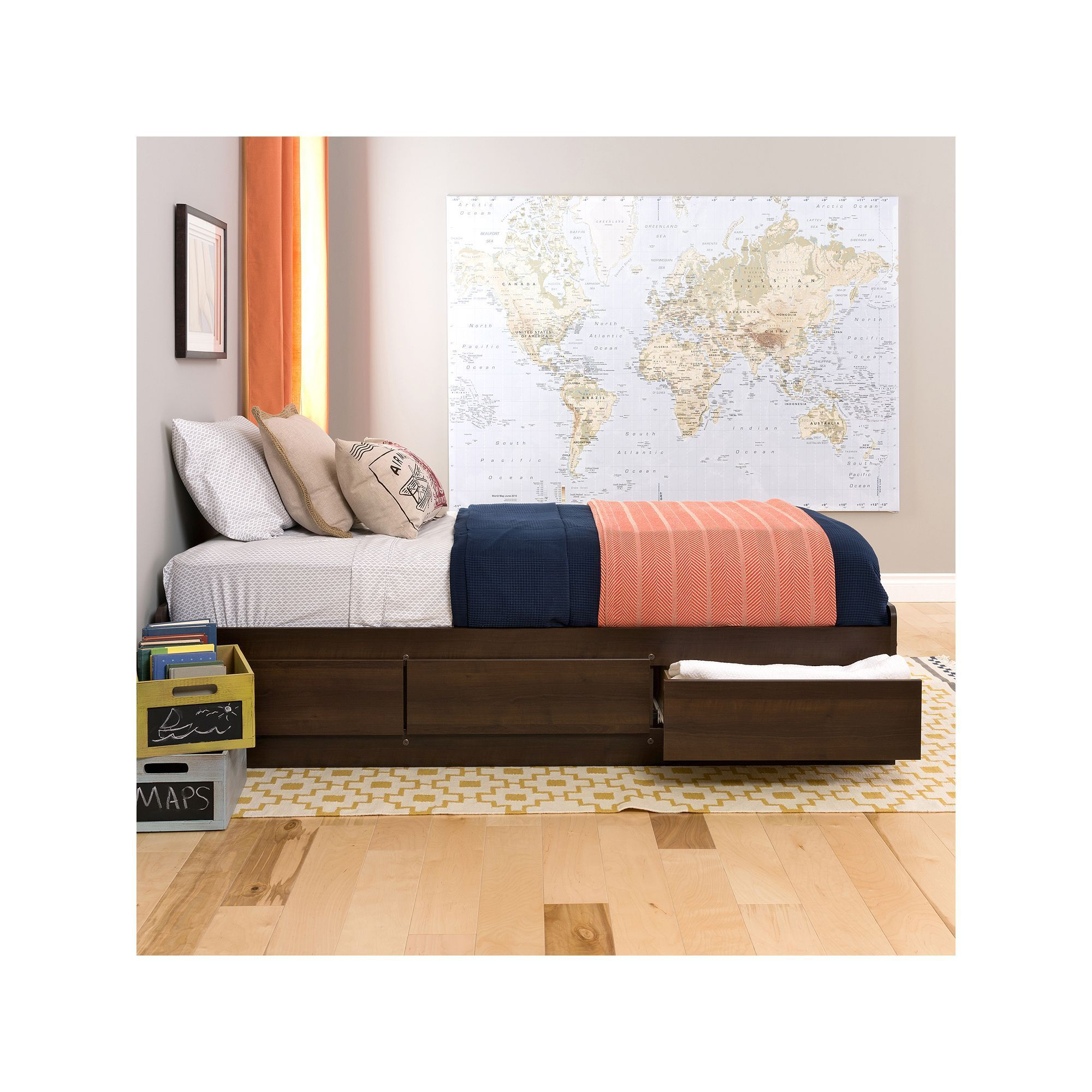 Prepac Twin Platform Storage Bed, Brown Platform bed