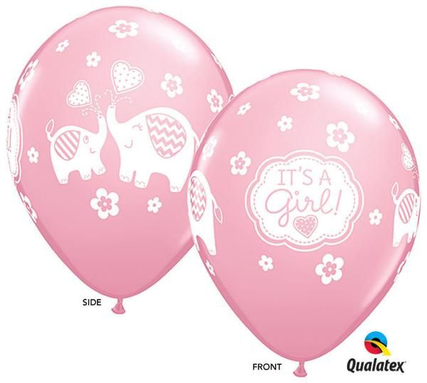 12ct Its A Girl Elephant 11 Latex Balloons Baby Shower Party