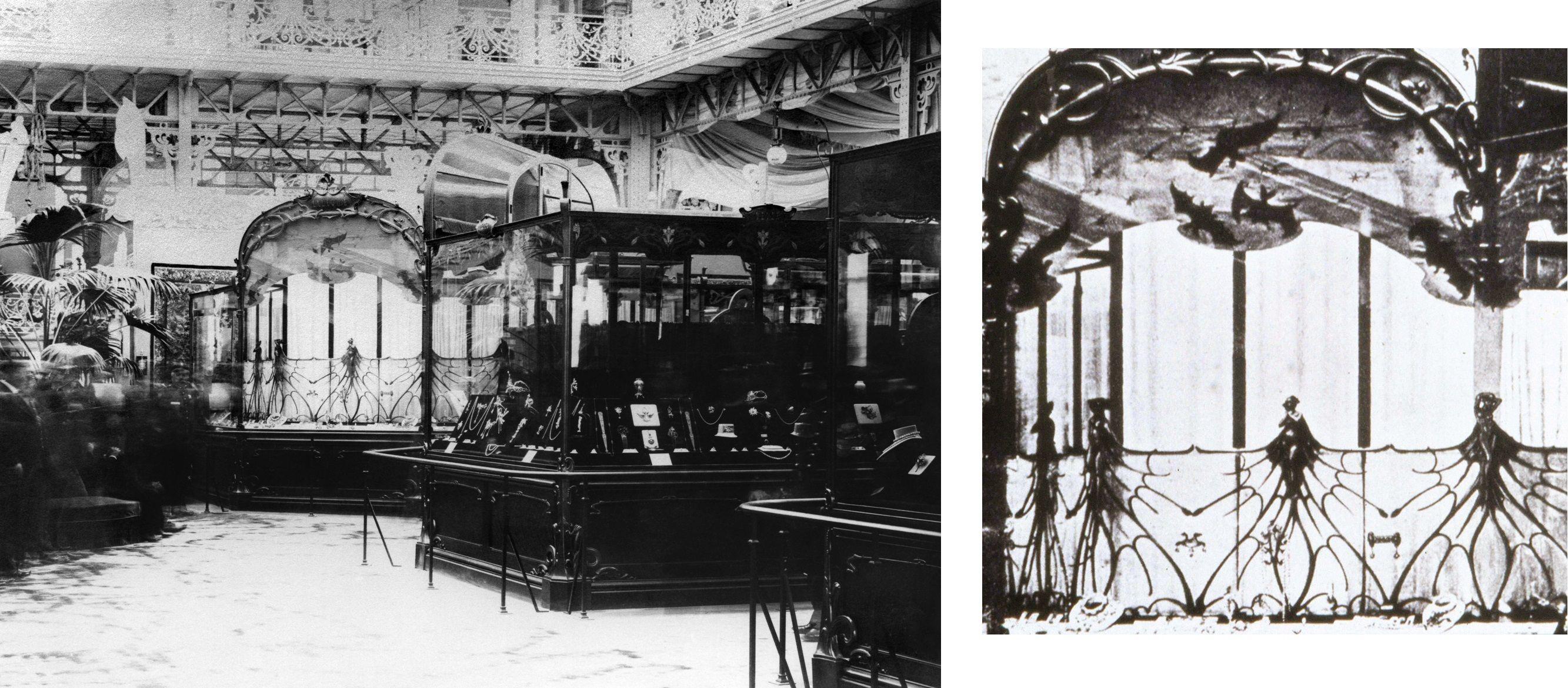 Vue du stand de René Lalique. Exposition Universelle de 1900 à Paris.