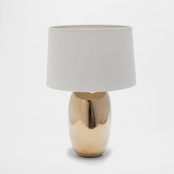 goudkleurige aardewerken lamp lampen decoratie zara. Black Bedroom Furniture Sets. Home Design Ideas