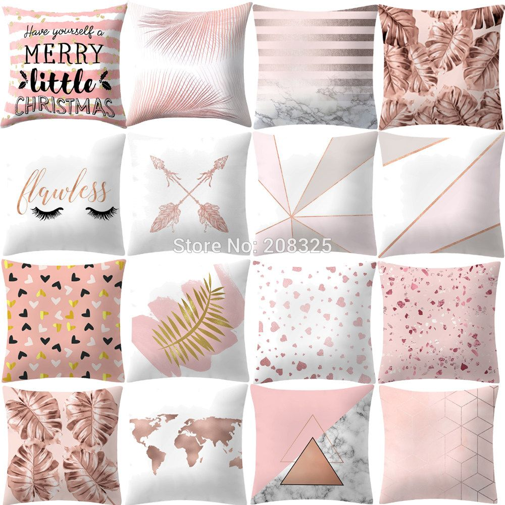 Zengia Rose Gold Pink Polyester Pillow Case Geometric Cushion Cover 45x45cm Pillowcase For Living Room Sofa Pink Cushion Covers Square Pillowcase Pink Cushions
