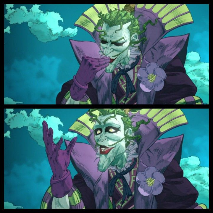 Enjoying The Sushi Joker From Batman Ninja Batman Ninja Joker And Harley Batman Bad Guys