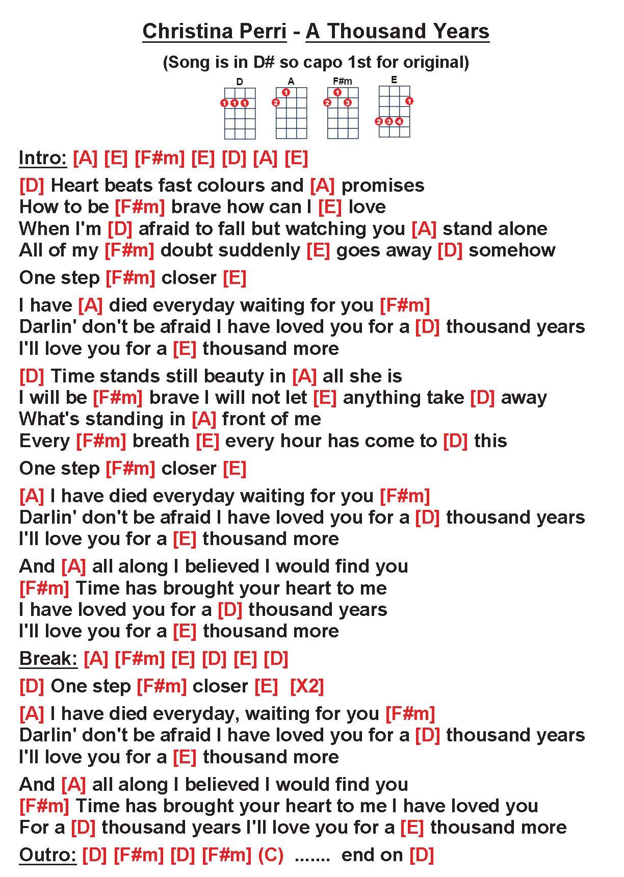Christina Perri   A Thousand Years [uke] W]   Uke songs, Ukulele ...