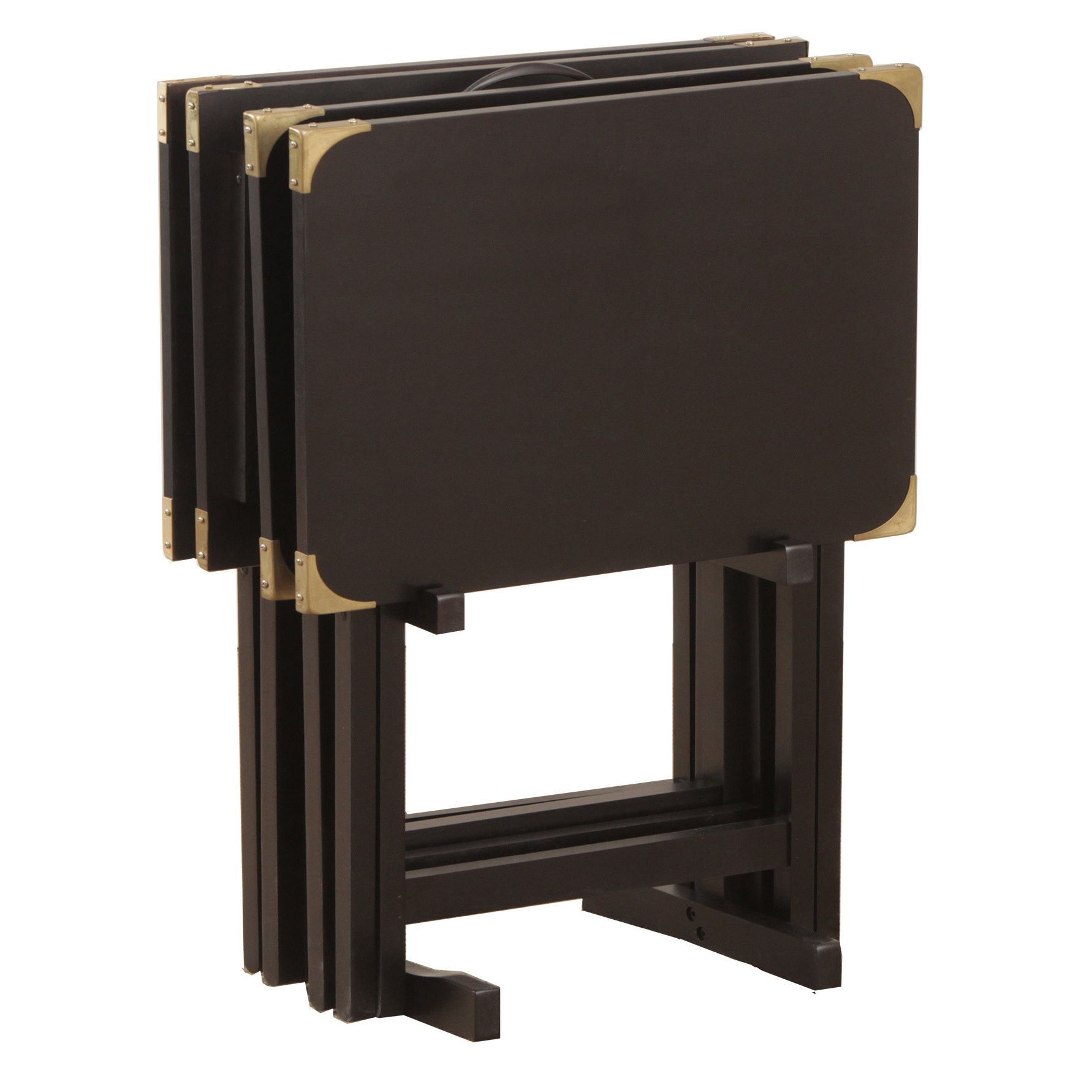 Bombay Outlet Black Tv Tray Set Has Five Pieces Four Tray Tables