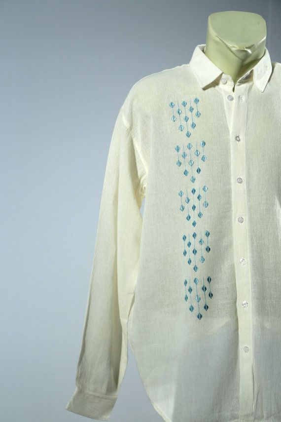 hand sewn, one of a kind, mans popover shirt. 100% cotton, bright yellow multi stripe , size Med