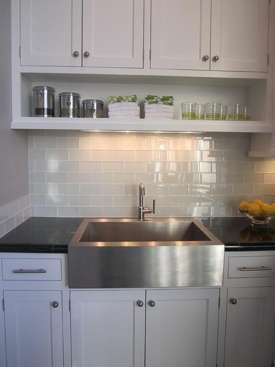Grey Subway Tile Backsplash   Contemporary   Kitchen   Artistic Designs For  Living