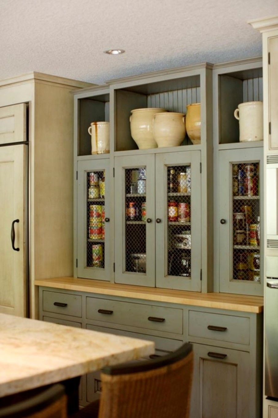 gray painted cabinets design also cool kitchen pantry with ...