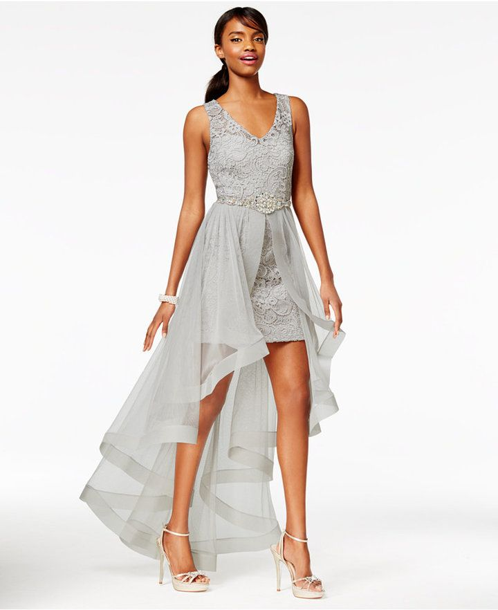 c42131ee2 Say Yes to the Prom Juniors' High-Low Flyaway Illusion Gown, A Macy's  Exclusive #PROM #GRAY