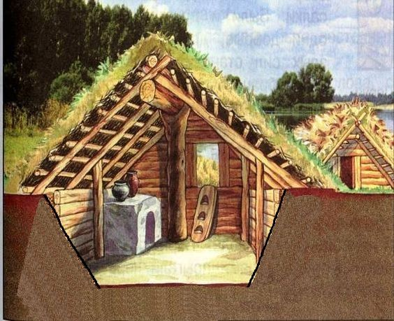 10th Century Russian Houses Roof Consists Of A Frame Of