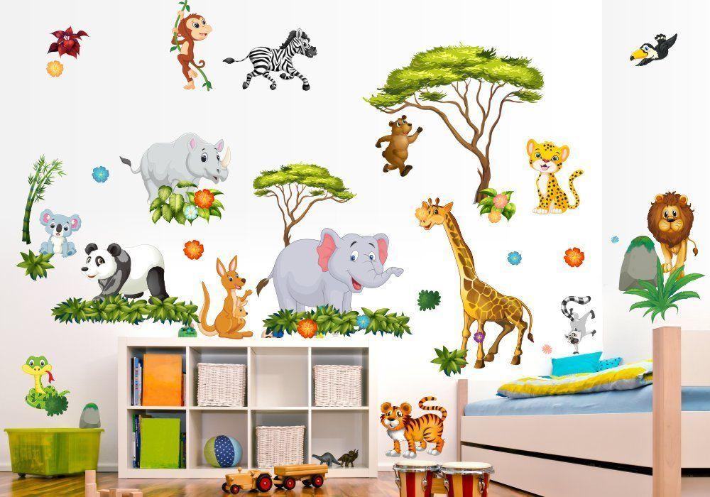Dschungelzimmer Jungle Room Wandtattoo Dschungel Tiere Kinderzimmer Wandgestaltung Safari Lowe Ele Kinderzimmer Selber Machen Wandtattoos Wandtattoo