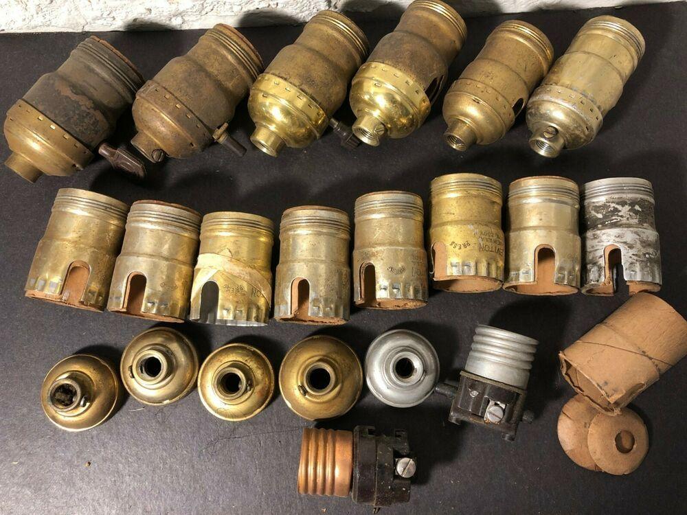 Antique Vintage Brass Light Socket Switch Leviton Eagle Lamp Parts Lot Lamp Parts Brass Lighting Vintage Brass
