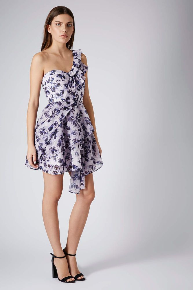 NEW Topshop One Shoulder Floral Chiffon Party Prom Dress THIS SEASON ...