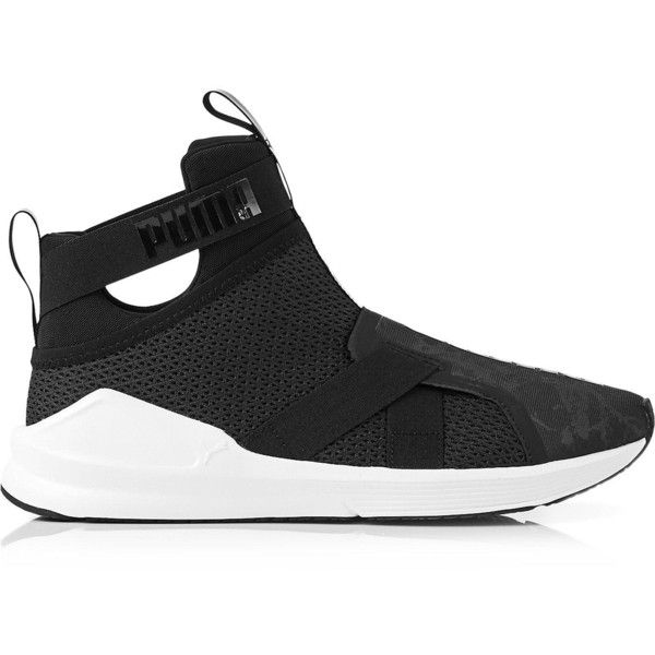 Puma Fierce Strap Swan Hi Top Trainers ( 64) ❤ liked on Polyvore featuring  shoes 760c56d60