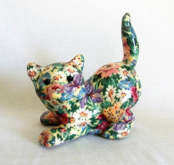 Vintage Cat Figurine Floral Decoupage Cat by LeftLaneVintage