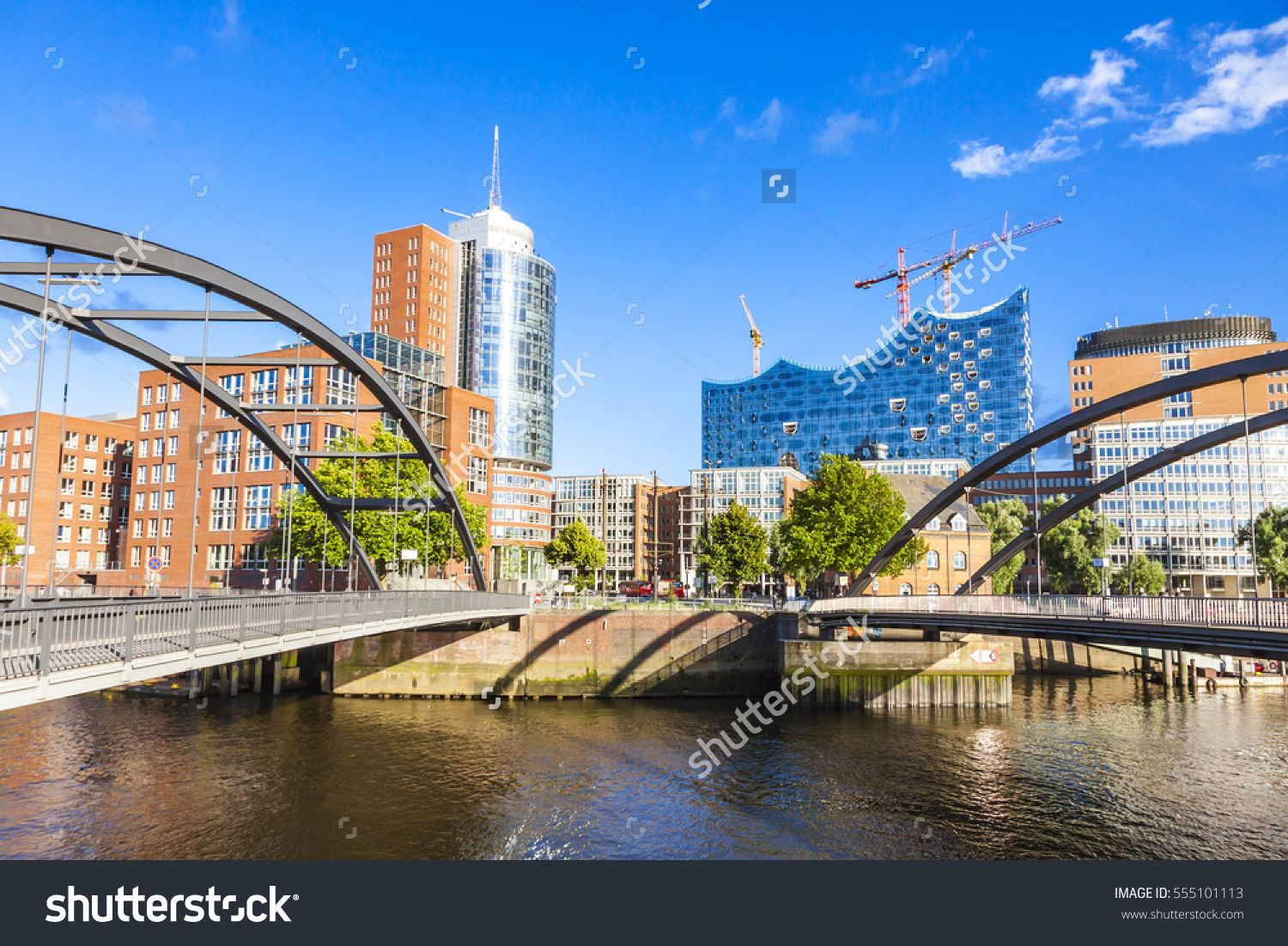 City Of Warehouses District Speicherstadt In Hamburg Building Of Elbphilharmonie Elbe Philharmonic Hall On Background Ni Warehouse District Building City