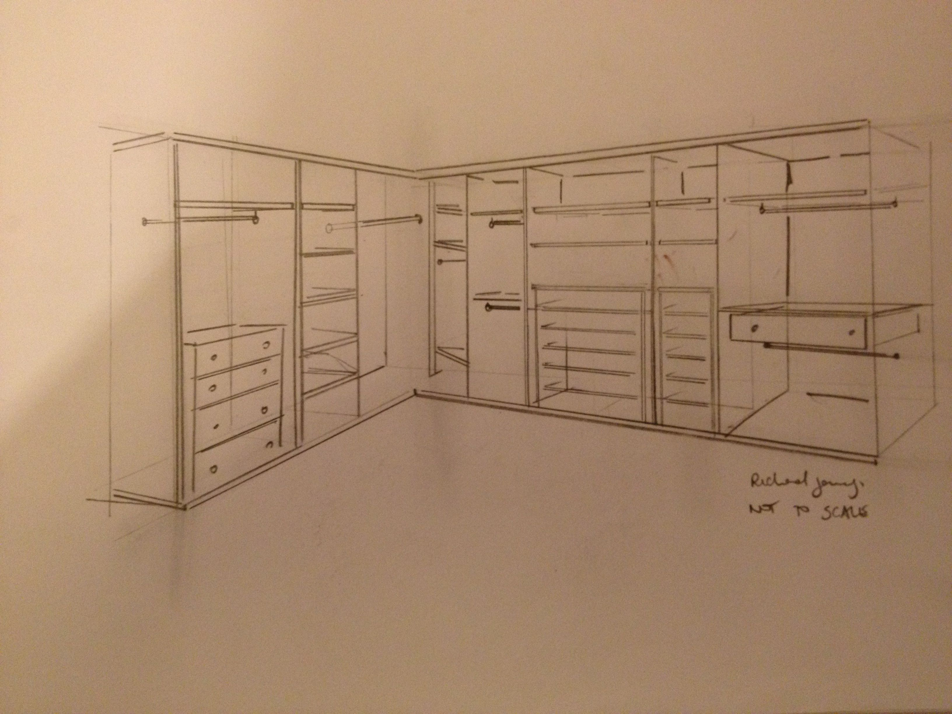 A rough sketch for a recent quote wardrobe interior