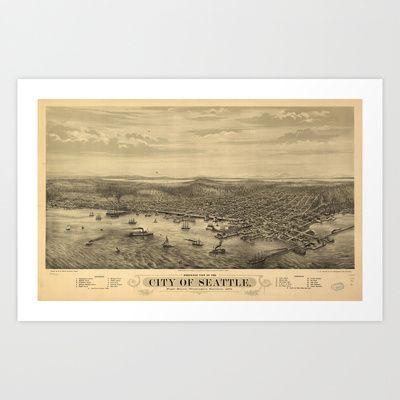 Vintage Pictorial Map of Seattle (1878) Art Print by BravuraMedia - $14.10