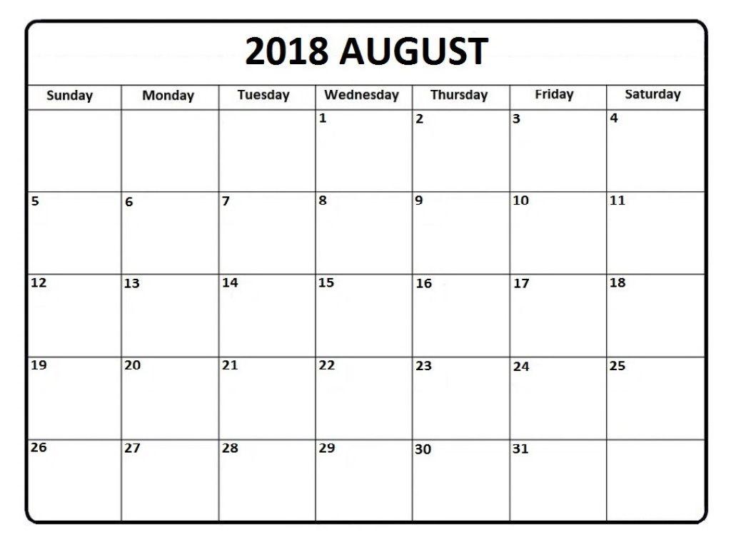 Aug 2018 Calendar Printable August 2018 Calendar Pinterest
