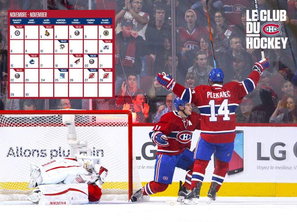 Calendrier Du Mois De Novembre Baseball Cards Canadiens Sports