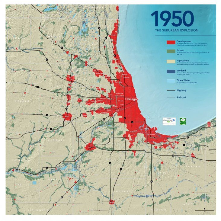 Suburban Chicago Map.1950 The Suburban Explosion Chicago History Maps Pinterest