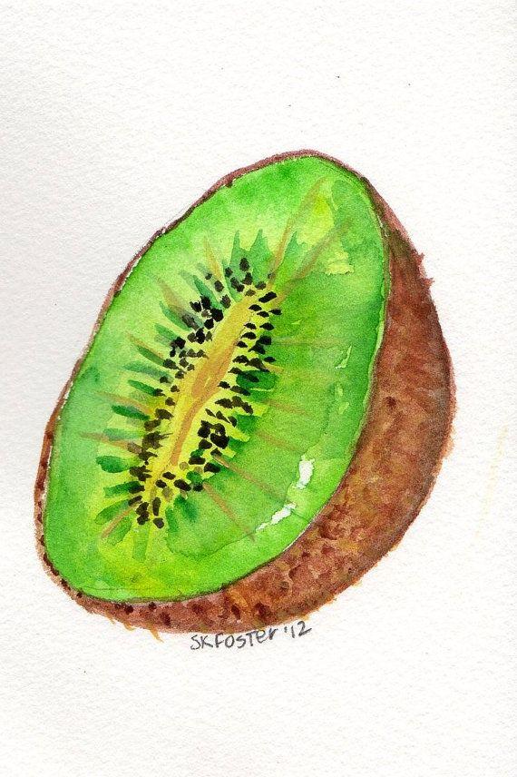 Kiwi Painting watercolor 4 x 6 Original Fruit by SharonFosterArt, $9.00