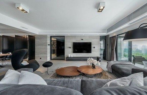 wohnzimmer modern einrichten graues mobiliar holztische