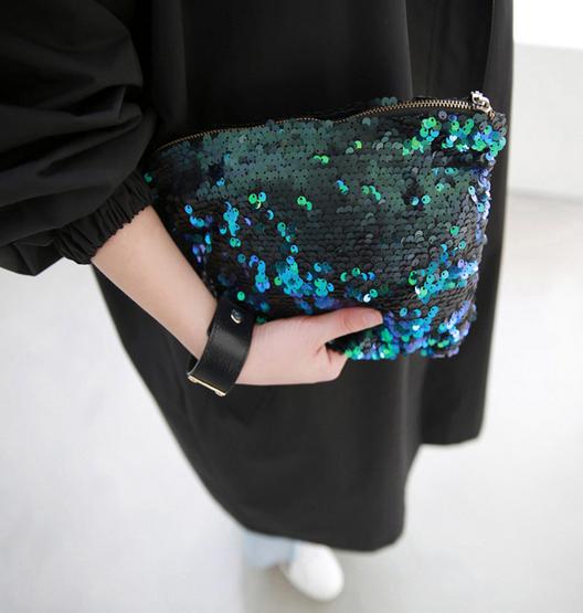 Sequined Zip Top Clutch Bag | $26.60