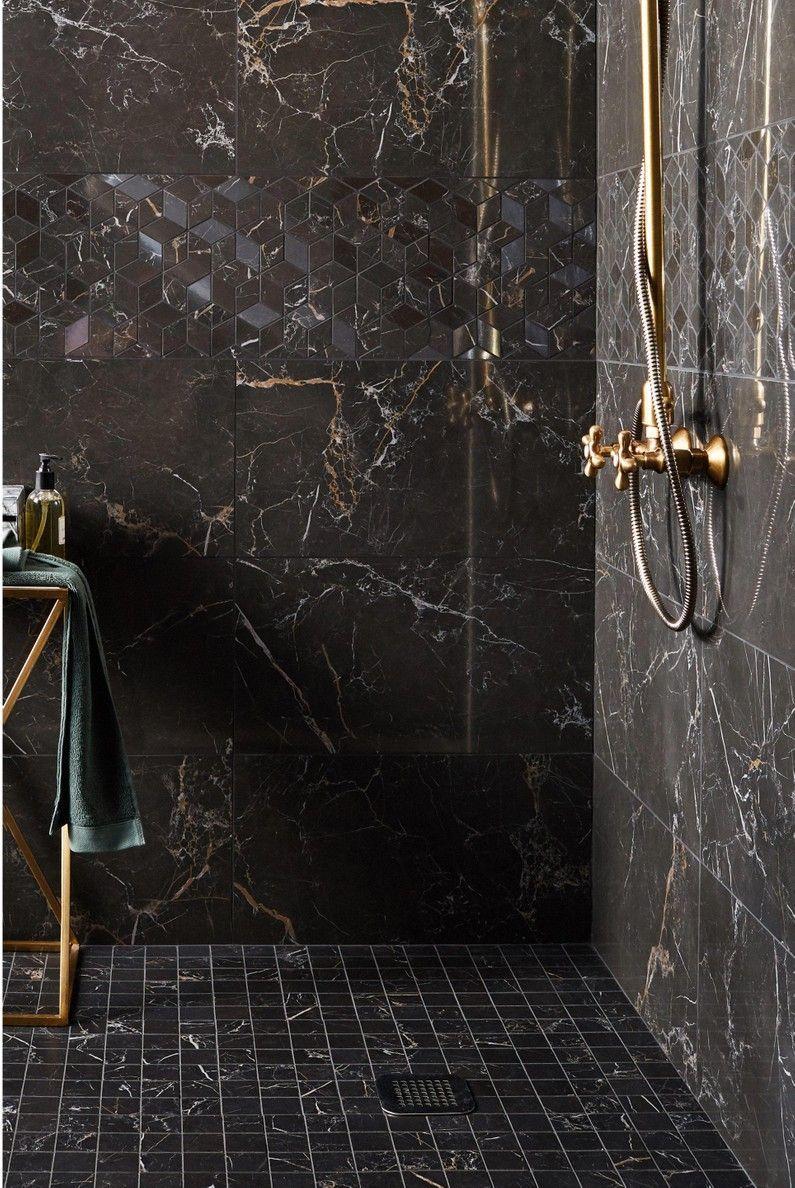 Brillante Carrelage Gold L305 L56 Marbre Mur Murano Noir