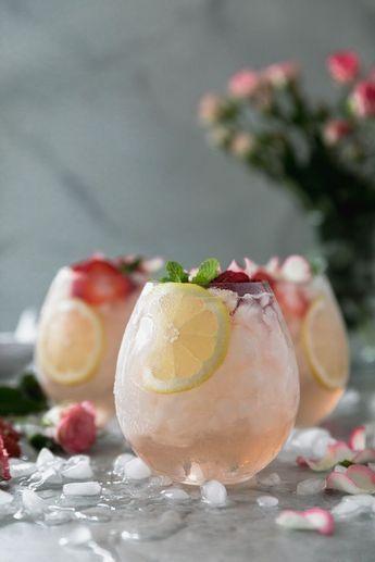 Rosé Lemonade Elderflower Sangria #pinklemonade