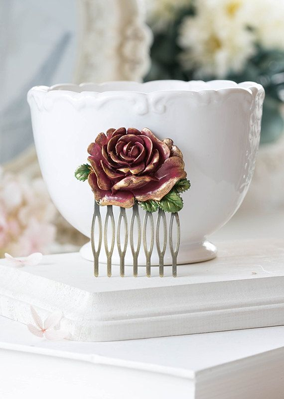 Dark Red Burgundy Rose Hair Comb Gold Tipped Petals by LeChaim