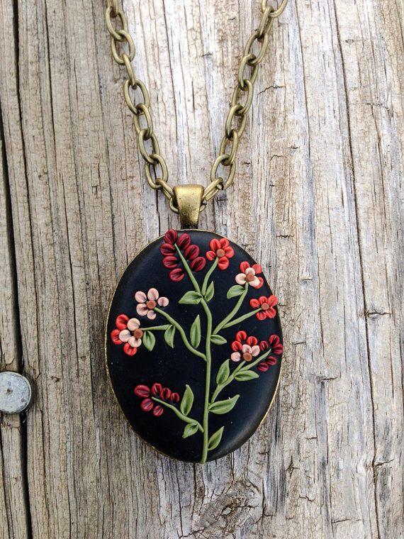 Womens Autumn Flower Polymer Clay Jewelry Pendant by ArtfulParadox, $25.00