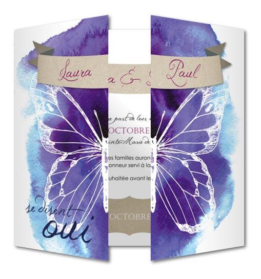 Faire part de mariage Papillons et aquarelle