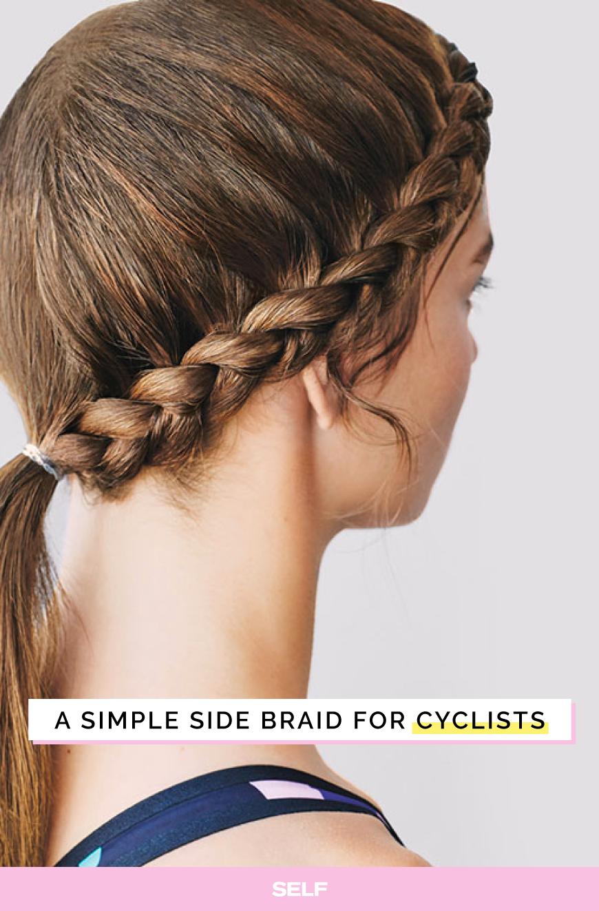 This Simple Side Braid Will Survive Under Your Bike Helmet Hair Styles Braided Hairstyles Updo Hair Hacks