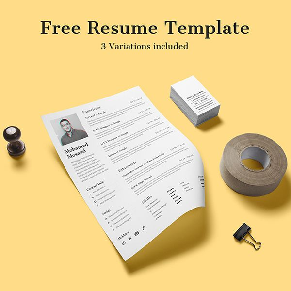 Free Clean and Minimal Resume with 3 Variations #resumetemplate - free resume cover letter template download