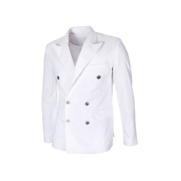 Mens Slim Fit Double Breasted Peaked Lapel White Linen Blazer Jacket (BJ458) found on Polyvore