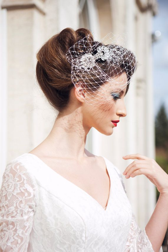 Vintage Inspired Bridal Birdcage Veil 1950s Look Vintage