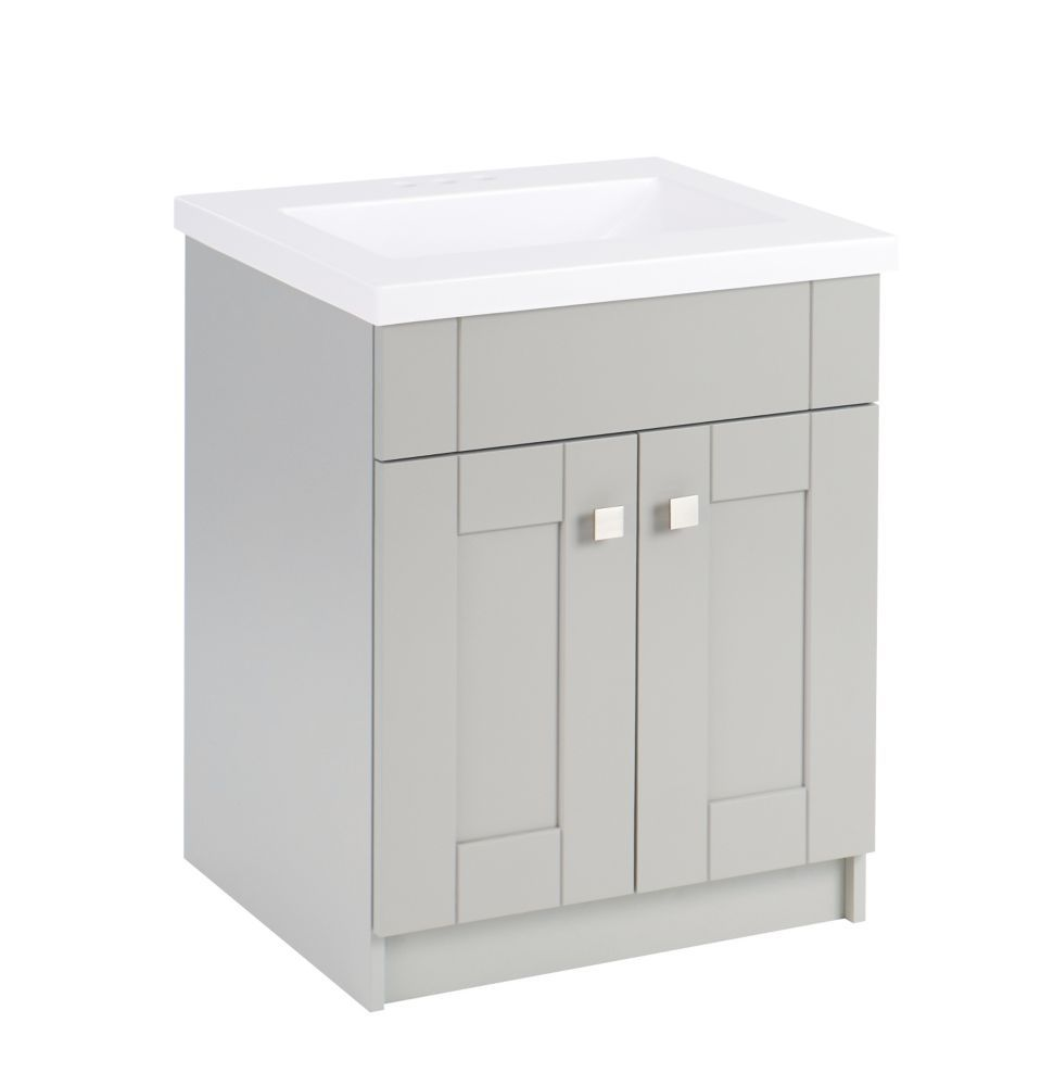 Millstream 25 Inch W Vanity In Grey Finish With Cultured Marble Top Bathroom Vanity Tops
