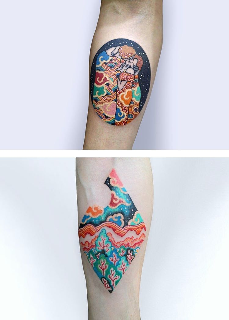 Pitta Kmm Celebrates Korean Culture By Mixing Traditional Color And Patterns With Motifs From Iconic Paintings Korean Tattoos Art Tattoo Body Art Tattoos