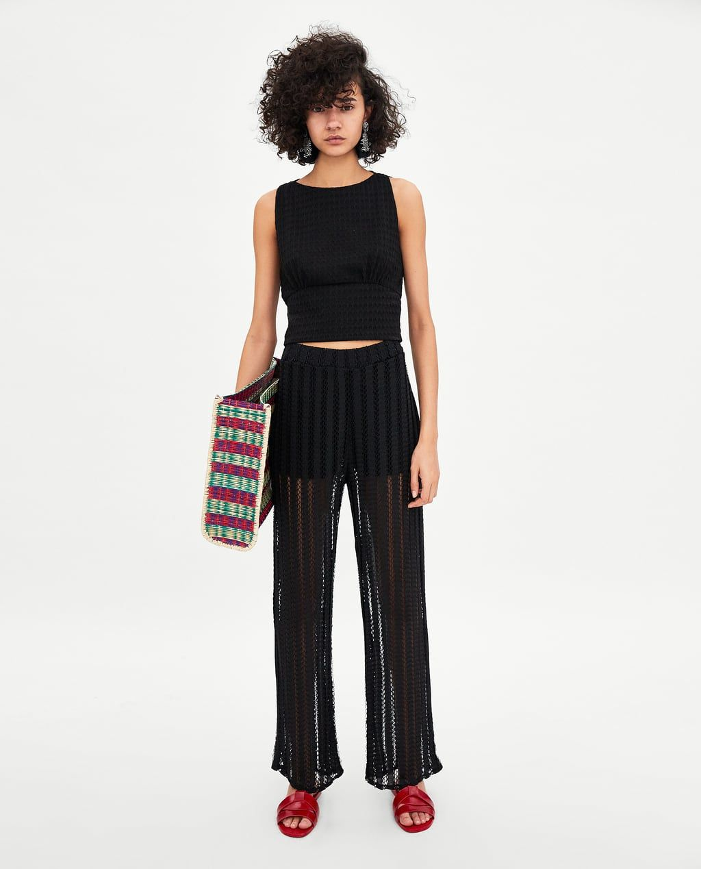 Photo of Image 1 of PANTS WITH MESH DETAIL by Zara