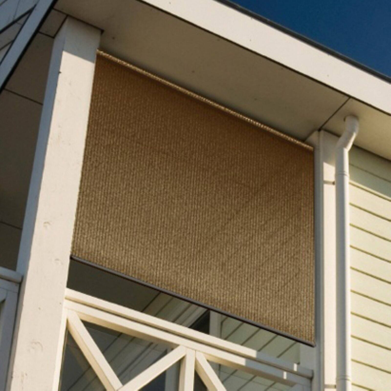 Coolaroo Wand Operated Outdoor Roller Shade 90 Uv Block 4 X 6 Mocha Walmart Com Solar Shades Outdoor Sun Shade Patio Shade